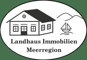 Das Logo der Firma Landhaus Immobilien Meerregion mit einem Haus, einem Segelboot, bergen und dem Schriftzug.