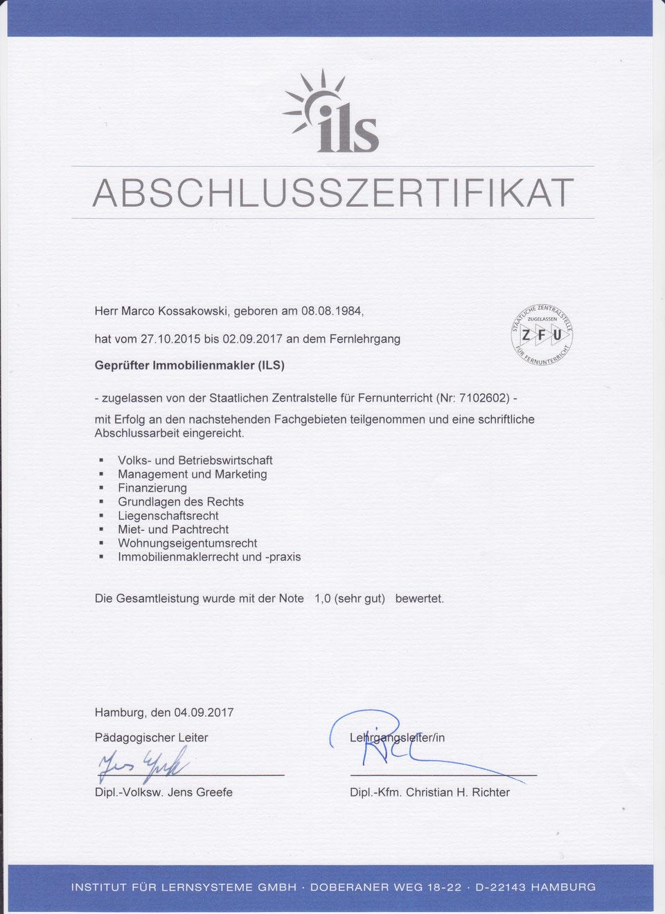 Abschlusszertifikat ILS