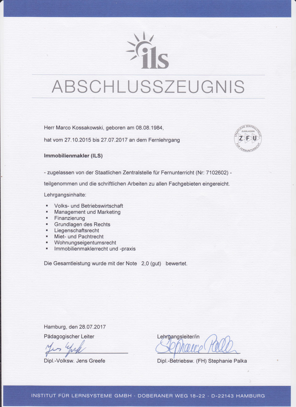 Abschlusszeugnis ILS