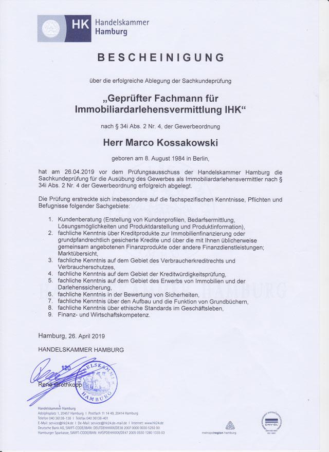 Zertifikat Immobiliardarlehensvermittler