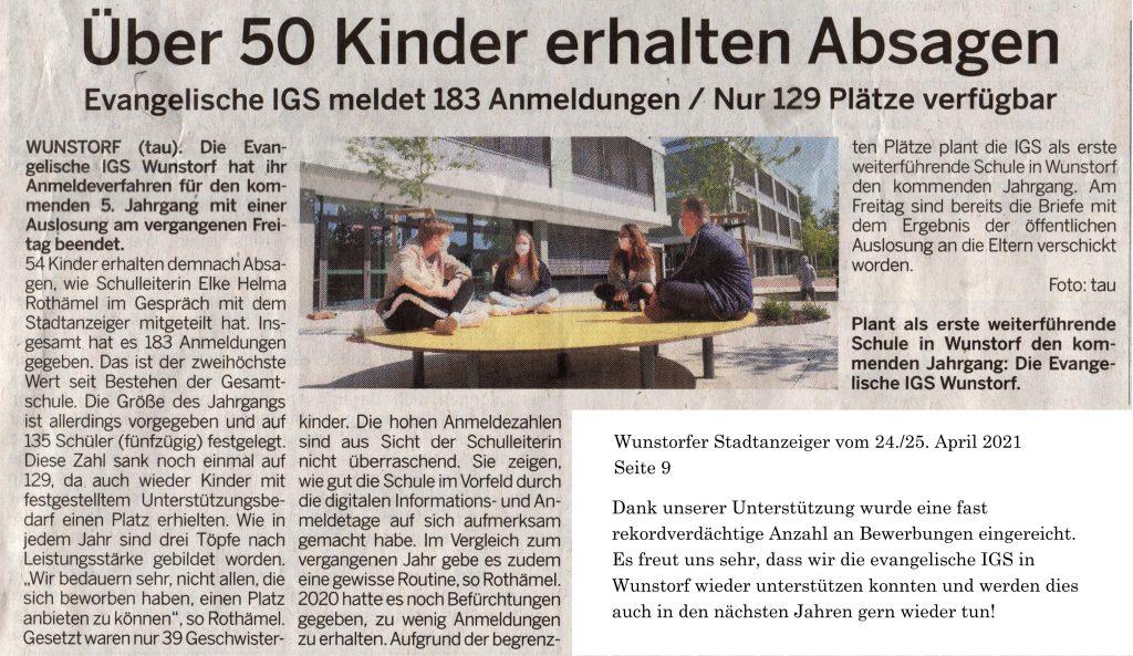 Stadtanzeiger Bericht IGS